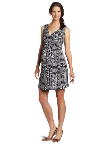 Three Seasons Maternity Women's Sleeve Surplice Printed Dress