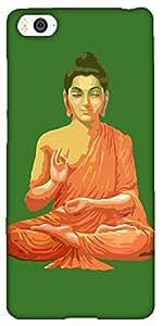 Snoogg Buddha for Peace Green Hard Back Case Cover Shield For Xiaomi Mi4i / Mi4I