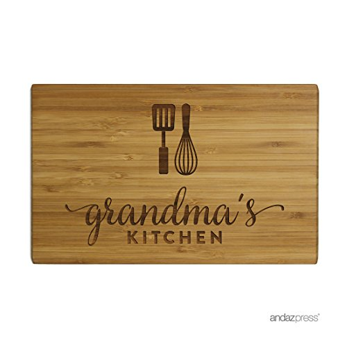 Andaz Press Laser Engraved Small Bamboo Wood Cutting Board, 9.5 x 6-inch, Grandma's Kitchen, 1-Pack, Mother's Day Mom's Birthday Christmas Gift Ideas