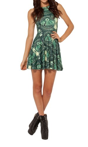 Women'S Pleated Knee-Length The Dollar Pattern Reversible Skater Dress