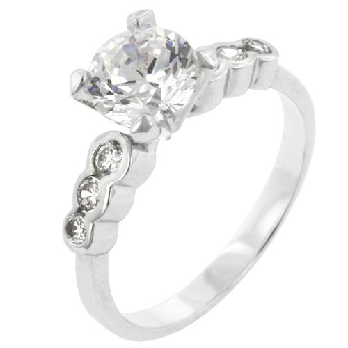 1.5 Carat (ct, cttw, ctw) Round Cubic Zirconia CZ Anniversary Ring with Clear Cubic Zirconia CZ Accents in Silver Tone (Size 5,6,7,8,9,10)