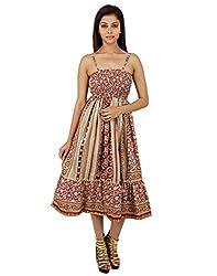 Vintage Polyester Floral Dress Red Printed Medium For Ladies By Rajrang