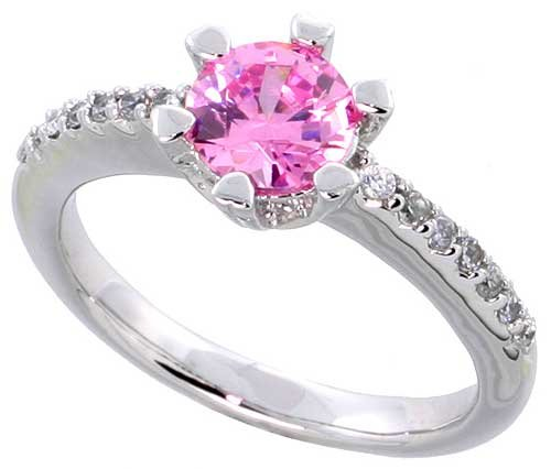 Sterling Silver Vintage Style Engagement ring, w/ a 6mm (.75 ct) Round Pink-colored CZ Stone, 5/16&#8243; (8mm) wide, size 8