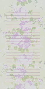 Treasures By Shabby Chic Magnetic Refrigerator Grocery List to Do Note Pad with Pink Full-blown Roses on Green Background