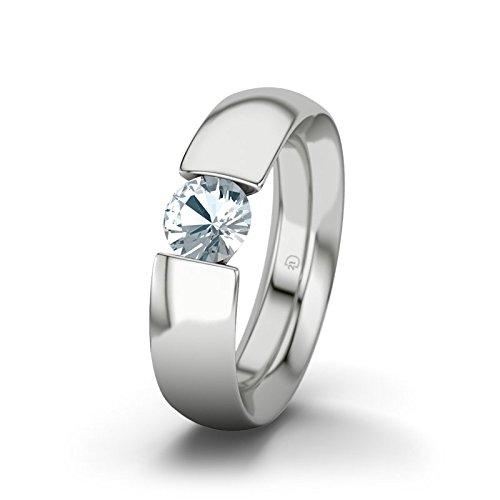21DIAMONDS New Hampshire Aquamarine Brilliant Cut Women's Ring-Silver Engagement Ring
