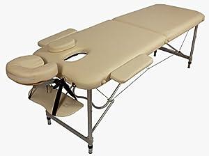Table de Massage - Alu - seulement 10kg, pliante Confort, beaucoup d'accessoires, creme jaune