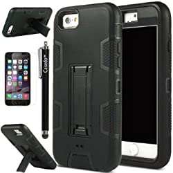 iPhone 6 Case - CAISEDO(TM) iPhone 6 (4.7) Case Ultra Hybrid Shockproof Protective Armor Rugged Rubber Hard Case with Kickstand for iPhone 6 (4.7) (2014) Screen Protector +Stylus. [C801B1]All Black