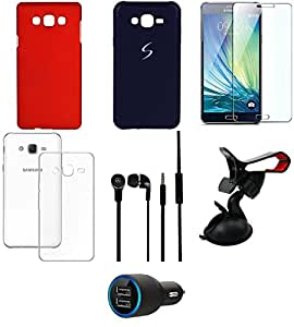 NIROSHA Tempered Glass Screen Guard Cover Case Car Charger Headphone Mobile Holder car for Samsung Galaxy ON5 - Combo