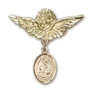 14K Gold Baby Badge with St. Albert the Great Charm and Angel with Wings Badge Pin