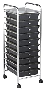 ECR4Kids 10-Drawer Mobile Organizer, Smoke