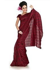 Designersareez Women Bhagalpuri Silk Printed Maroon Saree With Unstitched Blouse(1008)