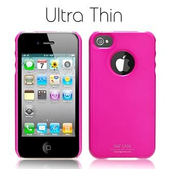 国内正規代理店品  SPIGEN SGP アイフォン 4 ケース Ultra Thin Vivid Series  ホット・ピンク  液晶保護シートセット for iPhone 4