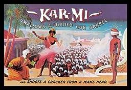 30 x 20 Canvas. Kar-Mi Swallows a Loaded Gun Barrel and Shoots a Cracker from a Man\'s Head
