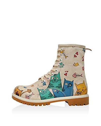 DOGO Botas de cordones Cat Lovers Beige / Multicolor