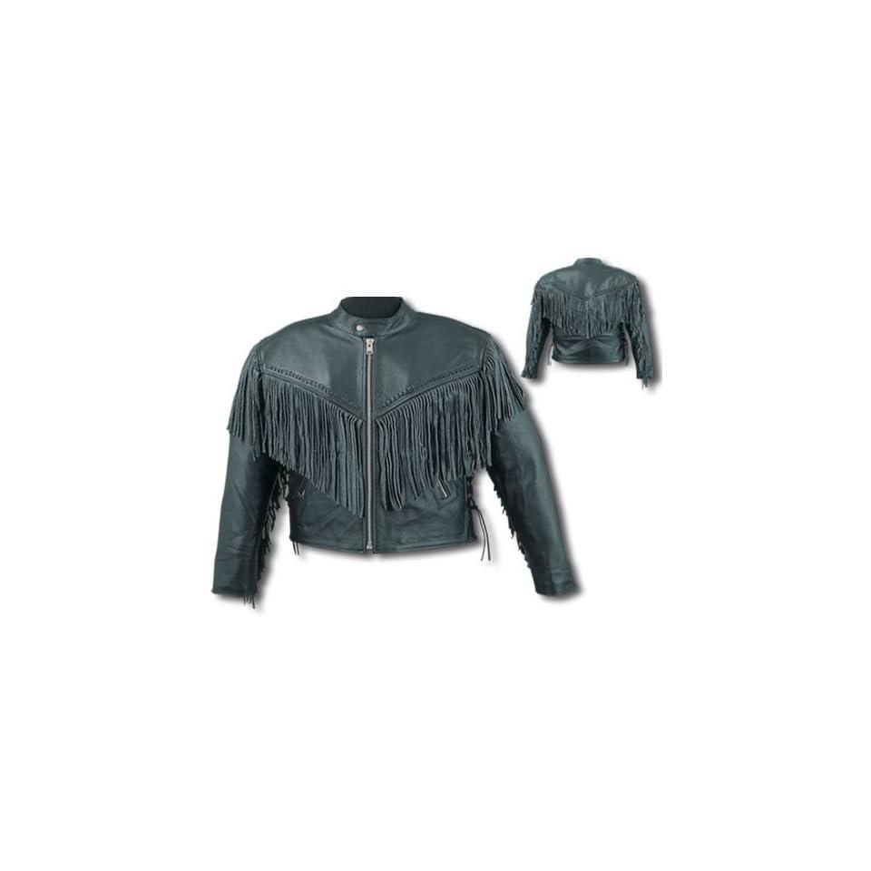 Mens Black Leather Motorcycle Jacket Sz XS
