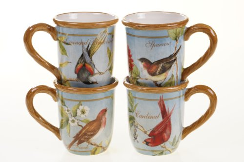 Certified International Botanical Birds Mug, Assorted Designs, 20-Ounce, Set of 4
