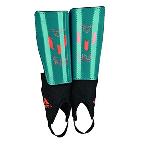 adidas Performance Messi 10 Youth Shin Guard, Power Teal/Solar Orange, X-Large