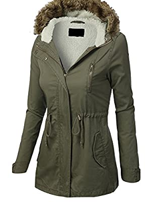 ViiViiKay Womens Cotton Anorak Lightweight Utility Parka Jackets with Drawstring