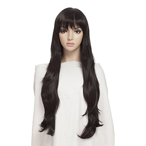 YOPO Wig Long Black Wigs for Women, Free Wig Cap & Bobby Pins, 30'' Wavy Synthetic Wig for Halloween (Brunette Halloween Costumes)