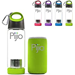 Pijio Infused Borosilicate Glass Bottle Mug with Neoprene Sleeve, 17-Ounce - Green