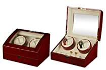 Burgundy Wood Finish Quad Automatic Watch Winder With 6 Additional Watch Storage Spaces, Two Turntable With 4 Program Settings.