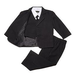 NancyAugust Classic Baby Boys Formal Suit in Black S-XL-Black-XL