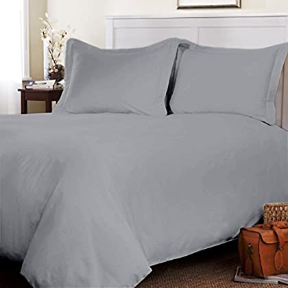 Egyptian cotton Duvet Cover 500 TC Solid (Queen, Silver Grey) By Fantasy Nap sale off 2015