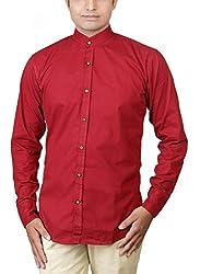 Basil Men's Cotton Blend Casual Shirt (BA360CSC32CSF-42, Red, 42)