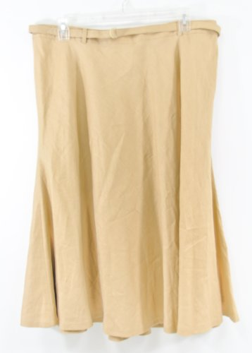Lauren by Ralph Lauren Woman Belted Midcalf Linen Skirt Coconut 18W