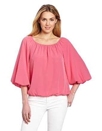Chaus Women's 3/4 Sleeve Peasant Blouse, Perfect Rose, Small
