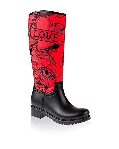 SILENCE of the BEES Botas de agua Love Negro / Rojo EU 38