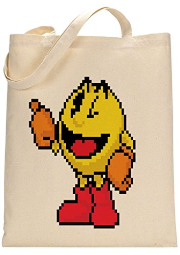 1980s Style Pixels Pacman Gaming Character Fan Custom Made Tote Bag. 100% natural cotton