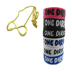 One Direction 6pcs Bracelet Wristband with 1 Pcs Colden Infinity Directioner Necklace from Molie