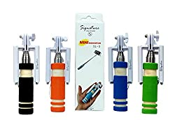 Original Signature Brand SL-3 Mini Aux Selfie Stick for Iphone,Android and Other Smart Phones - (Color May vary)