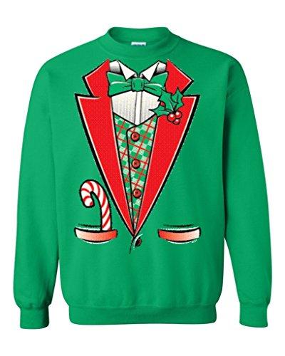 Tuxedo Christmas Costume Crewnecks #12258 Funny Xmas Sweatshirts Small Irish Green