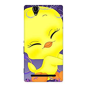 Ajay Enterprises Sweet Yellow Tweet Back Case Cover for Sony Xperia T2