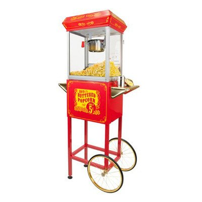 FunTime Sideshow Popper 4-Ounce Hot Oil Popcorn Machine with Cart, Red/Gold (Gold Metal Popcorn Kit compare prices)