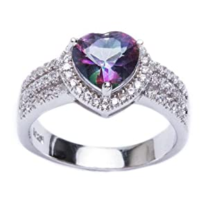 .925 Sterling Silver 3ct Heart Shape Rainbow Colored CZ & Cz Ring Size 6