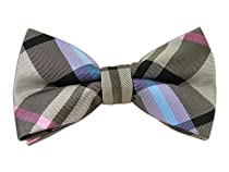100% Silk Woven Black, Silver and Pink Wow Plaid Self-Tie Bow Tie