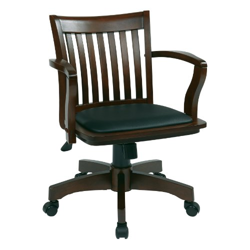 OSP Designs Deluxe Finish Wood Bankers Chair with Vinyl Padded Seat, Espresso