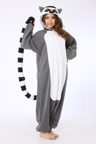 Genuine Animal Kigurumi Madascar Ring-Tailed Lemur Fancy Dress Cosplay Costume Pajamas front-792551
