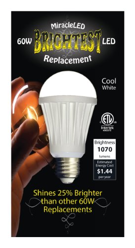 Miracleled 605067 Brightest 60W Led Replacement 12-Watt Etl Certified 1070 Lumen A19 Household Bulb, Cool White