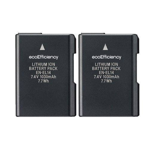 2 Replacement Nikon EN-EL14 EN-EL14A Battery for Nikon D3100, D3200, D3300, D5100, D5200, D5300, D5500, DF, Coolpix P7000, P7100, P7700, P7800 DSLR Cameras (Nikon 5100 Battery compare prices)