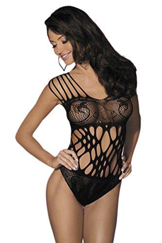 Amynetti Sexy Damen Dessous Reizvoller Reizwäsche String Body mit Netz schwarz