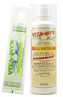 VITA-MYR Value Package 6 - 1 Tube 5.4 Oz Zinc+ Xtra w/ Xylitol & CoQ 10 Natural Toothpaste & 1- 16 Oz Natural Mouthwash. Gluten Free. Vegan. No SLS, No Sugar, Fluoride, Alcohol or Saccharin