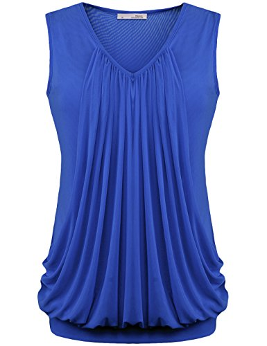 Messic Womens V Neck Sleeveless Pleated Front Tunic Top Blouse (Medium, Dark Blue) (Blue Halter Top compare prices)