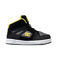 DC Rebound UL Youth Shoes Skate Shoe (Toddler), Black/Grey/Yellow, 10 M US Toddler