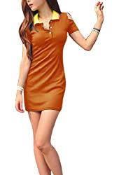 Women Convertible Collar Short Sleeve Cut Out Mini Dress