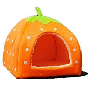 Strawberry Small Cotton Soft Dog Cat Pet Bed House S/m/l/xl (Yellow, M)