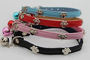 PU Leather Paw Studded Cat Collar & Matching Colour Bell (Safety Elastic) (Pink)